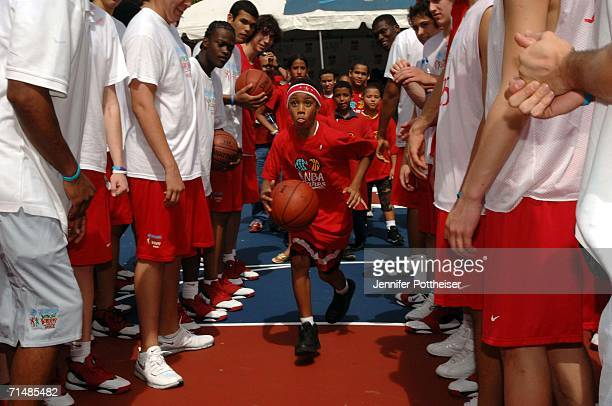 School children from Escuela Elemental Juan B Huyke joined campers from the Basketball Without Borders Americas program to celebrate the opening of...