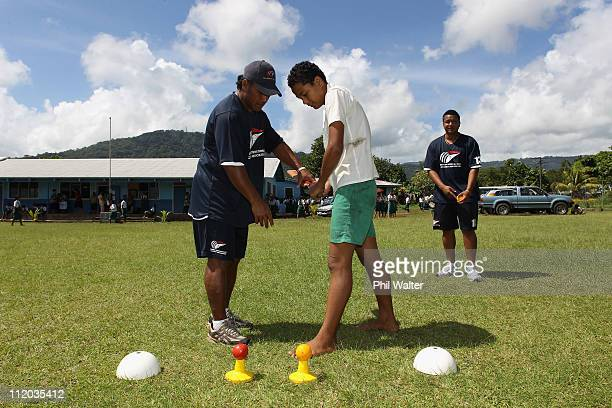 School children from the Faleata Secondary College are taught basic cricket skills as part of the ICC East Asia Pacific and Australian Sports...