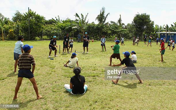 School children from the Leauva'a Primary School learn basic cricket skills as part of the ICC East Asia Pacific and Australian Sports Commission...