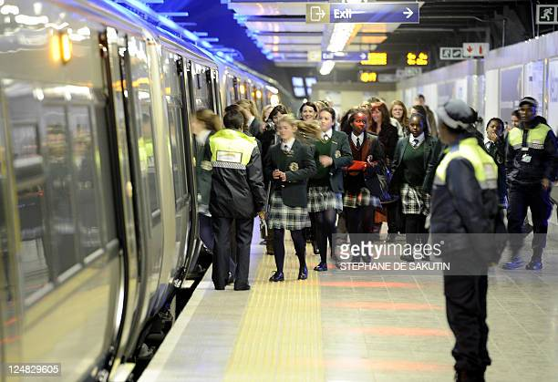 School children get on the Gautrain Africa's first highspeed rail line on August 2 2011 in the Sandton suburb of Johannesburg South Africa's first...