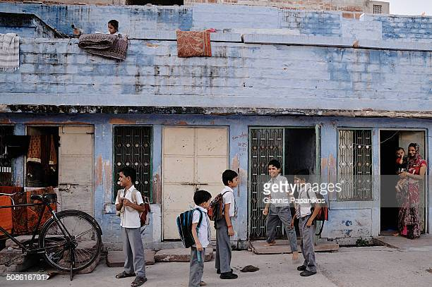 School children in a neighborhood in Jodhpur, Rajasthan.