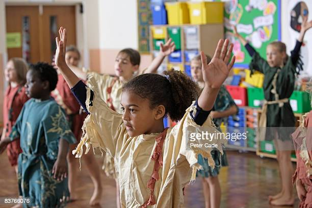 school children in drama class - acting performance stock pictures, royalty-free photos & images