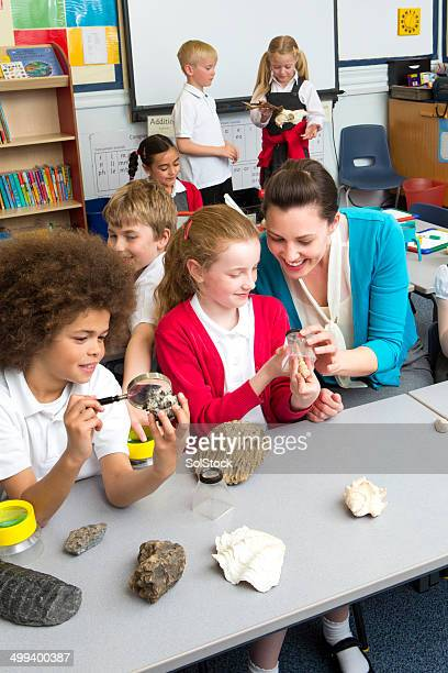 school children in science lesson - geology stock pictures, royalty-free photos & images