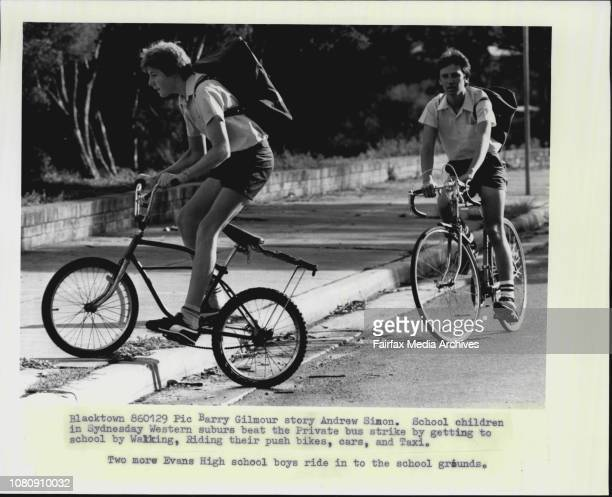 School children in Sydneysday Western suburbs beat the Private bus strikes by getting to school by Walking Riding their push bikes cars and TaxiTwo...