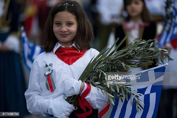 School children march during the Independence Day parade on March 25 2016 in Mytilene Greece The annual parade marks the anniversary of Greek...