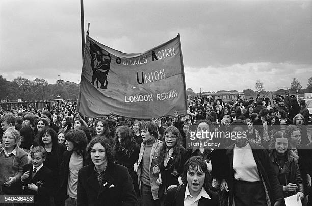 School children march to County Hall as part of a demonstration for 'School Action Union' against school dinners caning and school uniforms London...