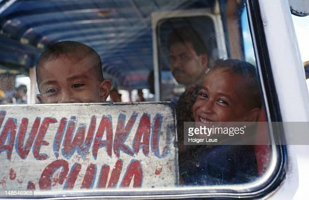 School children on the bus.