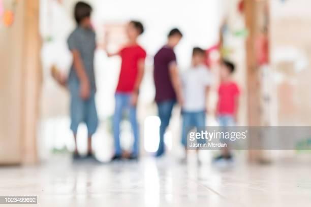 School children out of focus