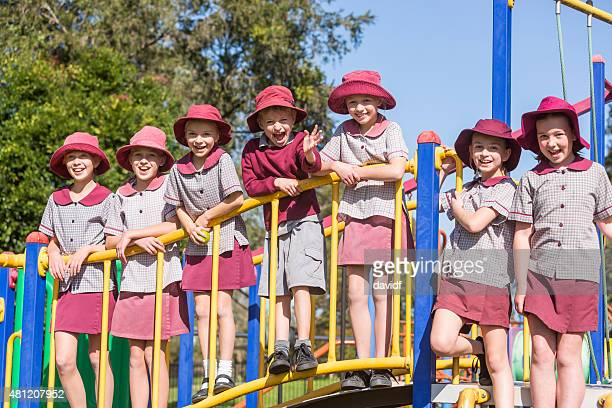 School Children Outdoors on Play Equipment