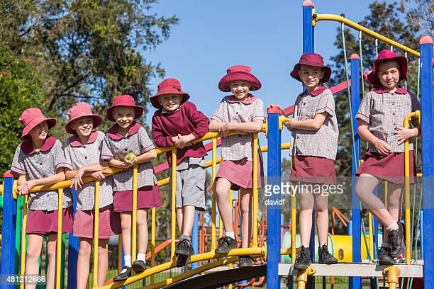 School Children Outdoors on Play Equipment