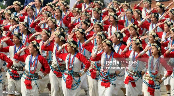 School children perform at the saluting base during the full dress rehearsal for Republic Day Parade at Rajpath on January 23 2014 in New Delhi India...