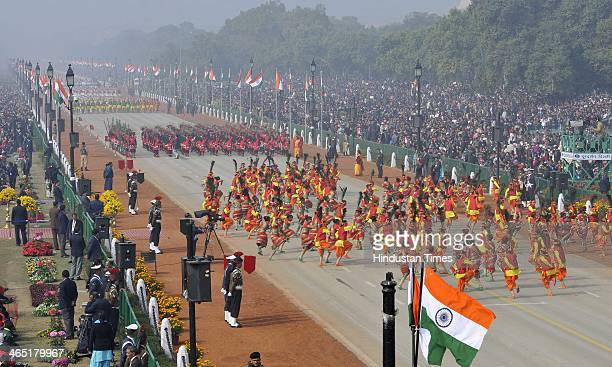 School children performs at the 65th Republic Day parade at Rajpath on January 26 2014 in New Delhi India India adopted its democratic Constitution...