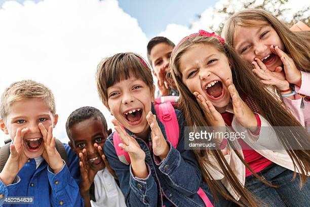 school children shouting outside - shouting stock photos and pictures