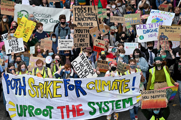 GBR: Fridays For Future Holds Climate Strike March In Glasgow