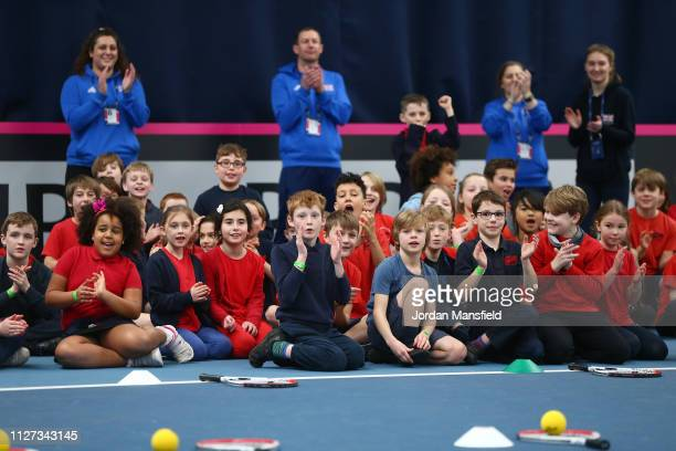 School children take part in a Tennis for Kids activity ahead of the start of the Fed Cup Europe and Africa Zone Group I fixtures at University of...