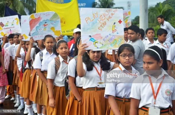 School children taking part 35th Abhiruchi Sports Day observed across Assam to mark the birthday of Assamese first Arjuna Award winner Bhogeswar...