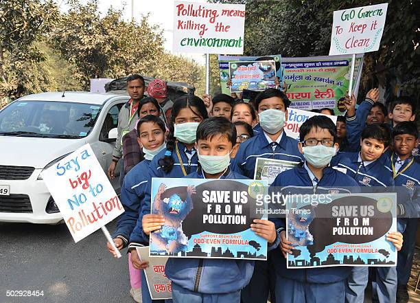 School children took out a rally in support of the oddeven formula introduced by the Delhi Government for controlling pollution on December 30 2015...