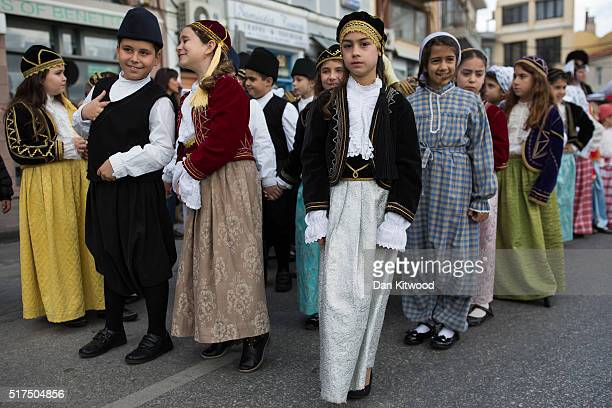 School children wait to march during the Independence Day parade on March 25 2016 in Mytilene Greece The annual parade marks the anniversary of Greek...