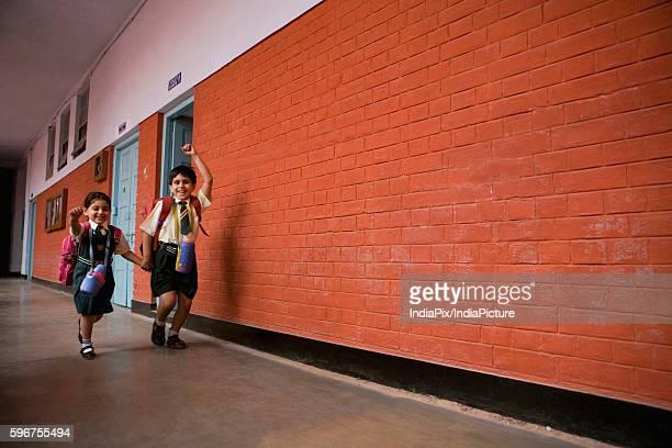 School children walking