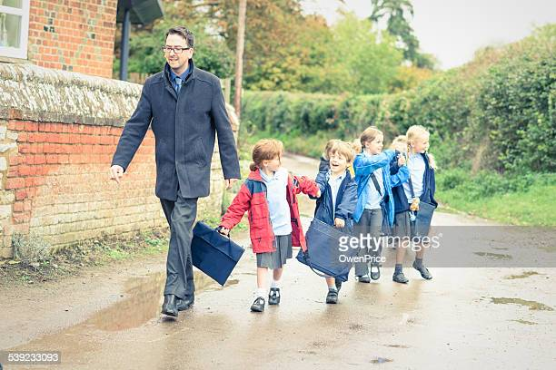 UK School children walking to meet their parents