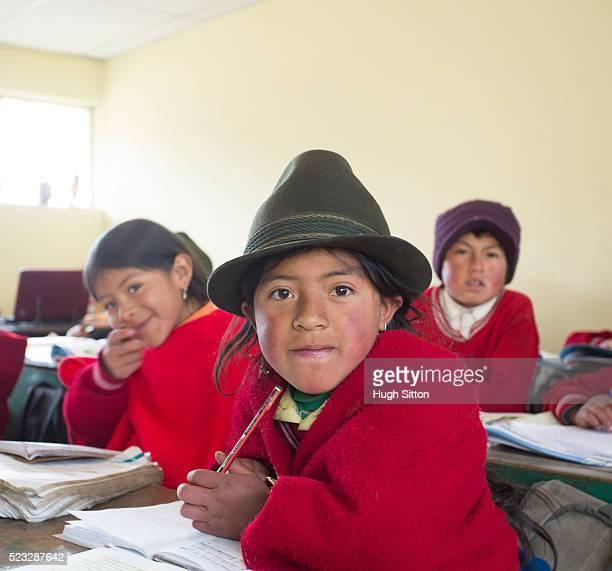 school children wearing traditional clothing, ecuador - エクアドル ストックフォトと画像