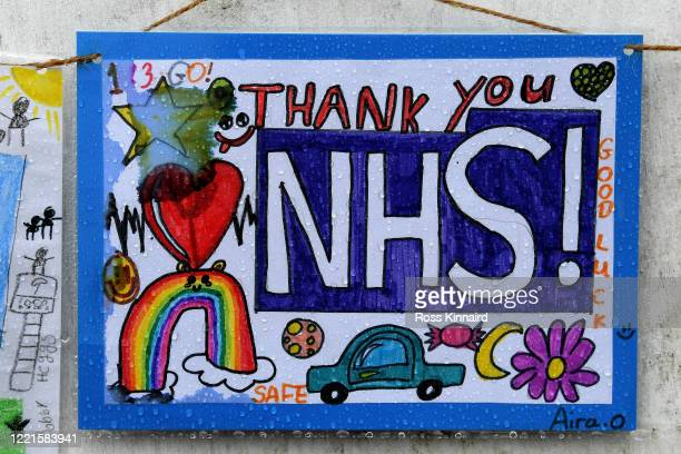 School children's poster hanging outside Glenfield Hospital during a minute's silence held in memory of NHS workers on April 28, 2020 in Leicester,...