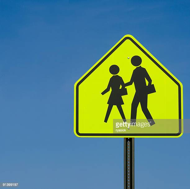 School Crossing Sign Post Against Clear Blue Sky Background