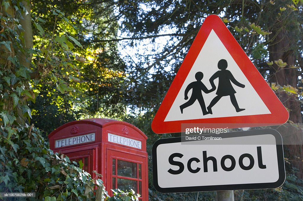 School Crossing Sign Telephone Box In Background Stock ...