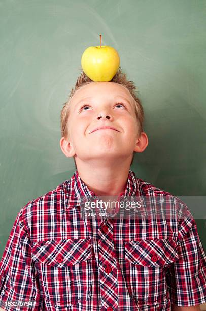 School Days: Boy With Apple on His Head