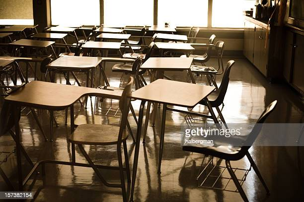 school desks - classroom stock pictures, royalty-free photos & images