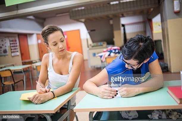 School education scene: cheating at the exam