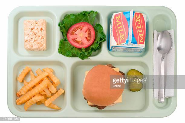 school food - cheeseburger - tray stock pictures, royalty-free photos & images