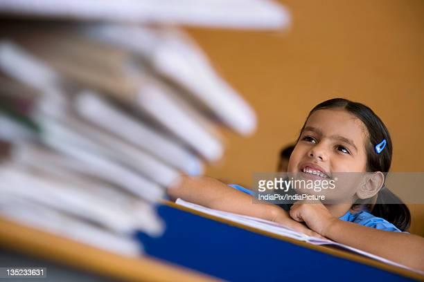 School girl at her desk