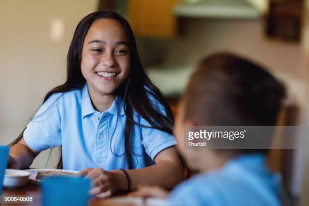 School Girl Having Breakfast