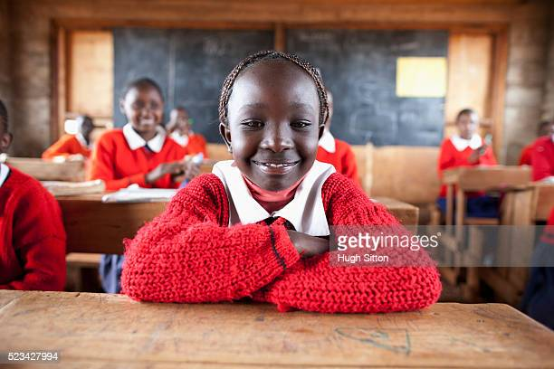 School girl sitting in classroom, Kenya