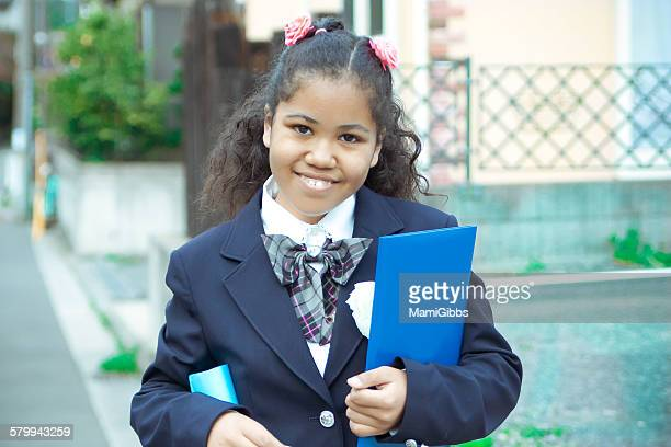 school girl wearing uniform - mamigibbs stock photos and pictures