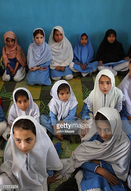 School girls await the next lesson October 11 2007 while in class in Mingora in the Swat Valley of Pakistan Taliban militants have destroyed three...