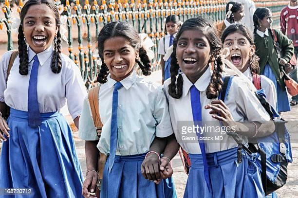 School girls DELHI laughing uniformed India