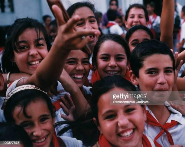 CIENFUEGOS CUBA MARCH School girls from Cienfuegos Cuba celebrate their JosÄ Marti birthday holiday in March of 2003