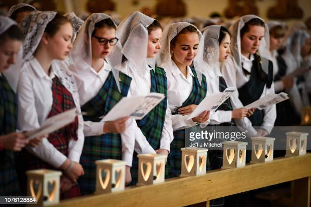 School girls from Kilgraston attend the annual Lily Procession in the school's Chapel on December 2 2018 in Bridge of EarnScotland The Catholic...