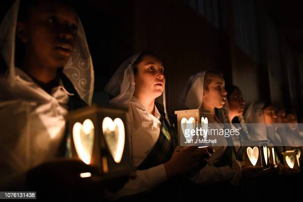 School girls from Kilgraston attend the annual Lily Procession in the school's Chapel on December 2, 2018 in Bridge of Earn,Scotland. The Catholic...