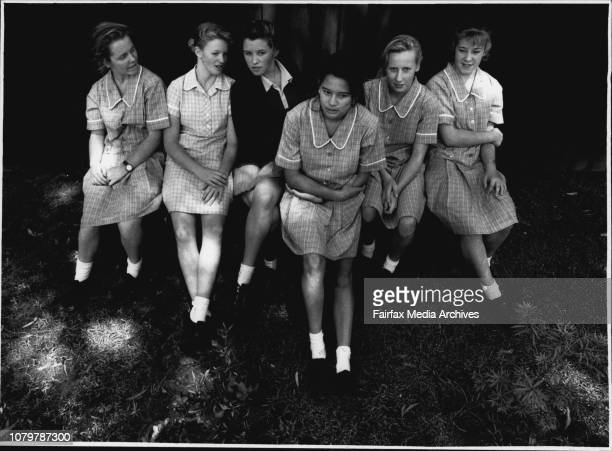 School Girls LR in large Group picAli Benton Kathy Pagden Amy Wightman Denise Kay and Chairmaine Bennett At Roseville Ladies College for story modern...