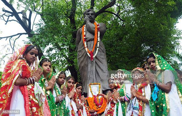 School girls offer tribute to the Freedom fighter Chandra Shekhar Azad on his 109th birthday anniversary at Azad Park in Allahabad Azad is known as '...