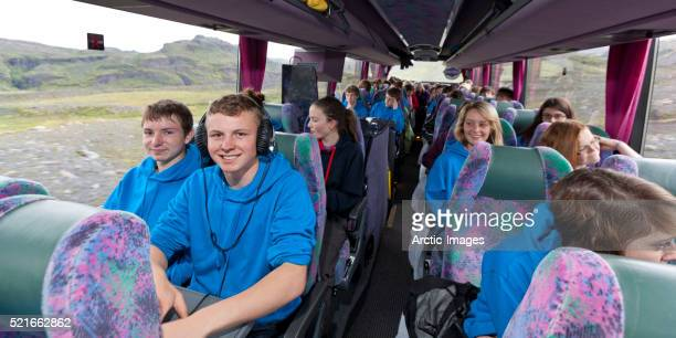 School group on bus tour, Iceland
