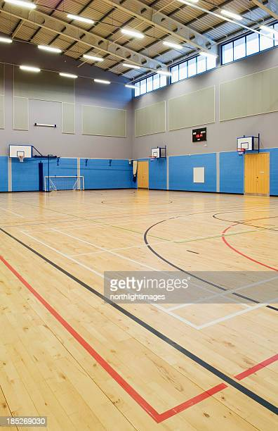 school gymnasium - badminton sport stock photos and pictures