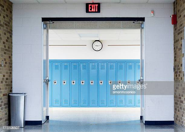 school hallway - school building stock pictures, royalty-free photos & images