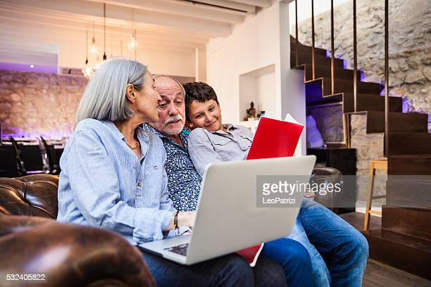 School homework at home with grandparents