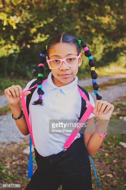 school is cool - girl nerd hairstyles stock photos and pictures