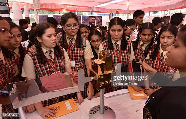 School kids attend ISRO Space Exhibition organized by Guru Nanak College of Art Science Commerce at Guru Nanak College GTB Nagar on February 15 2016...