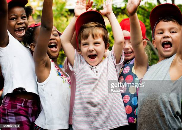 School kids cheerful outdoors field trip